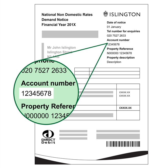 Business rates bill showing account number
