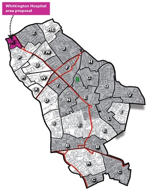 map of Whittington area