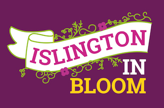A banner surrounded by flowers and leaves. 'Islington in bloom'