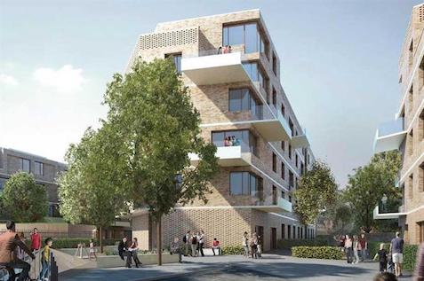 New 3D Affordable housing plans surround by families on a sunny day