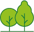 Icon of two trees to signify a greener and cleaner Islington