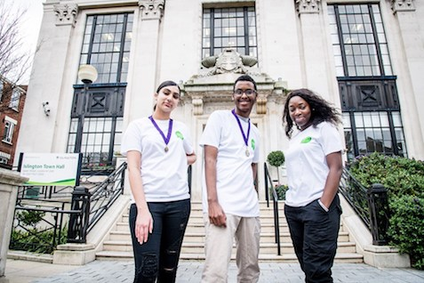 Youth councilors standing in front of Islington town hall